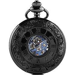 So siehe Pocket Kette Antik Skelett Armbanduhr Blau Steampunk mechanische TaschenUhren