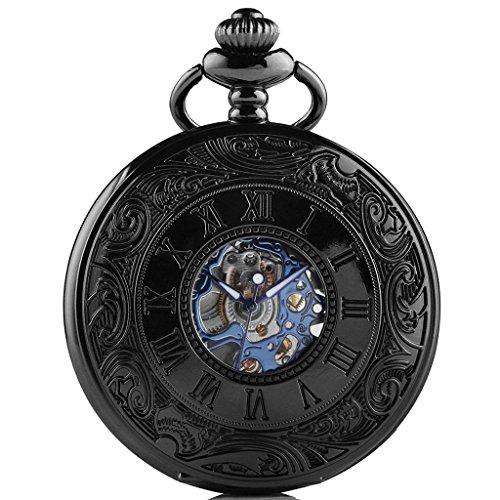 So vedere tasca catena antico scheletro Orologio Tasca Blu Meccanico orologi