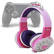 DURAGADGET Auriculares Diadema Para Playstation 4 / 3 - En Rosa Y Morado - Modelo Princesa