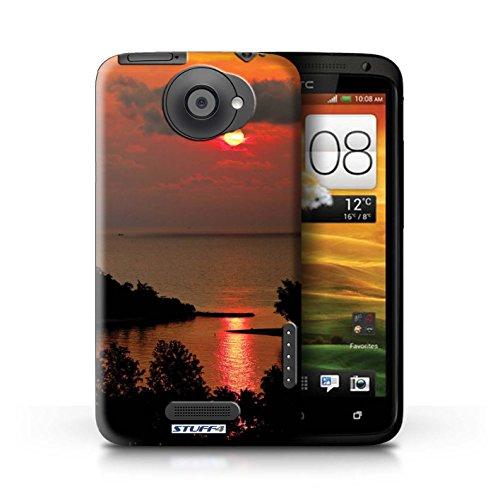 Kobalt® Imprimé Etui / Coque pour HTC One X / Chaîne de montagne conception / Série Coucher du Soleil Le soleil rouge