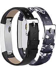 Tobfit Kompatibel mit Fitbit Alta HR Armband Fitbit Alta Armband (2 Pack) Lederarmband Edelstahl Schnalle Ersatzarmbänder für Fitbit Alta und Fitbit Alta HR (Kein Tracker)