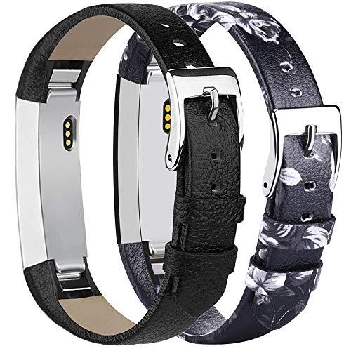 Tobfit Kompatibel mit Fitbit Alta HR Armband Fitbit Alta Armband (2 Pack) Lederarmband Edelstahl Schnalle Ersatzarmbänder für Fitbit Alta und Fitbit Alta HR (Kein Tracker) (02 Schwarz & Grau Blume)