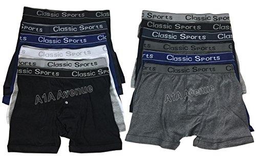A1A AVENUE 3 Paires de Sport Classique pour Homme Boxer Mélange de Coton sous-vêtements Slip avec Une Bande de Assorti (Small-2 X L), Taille M
