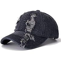 YUANCHENG Denim Cap Hole Gorra de béisbol Ocio Gorra de algodón para Hombres y Mujeres Deportes al Aire Libre Streetwear Gorra Sombrero Negro 54cm-62cm