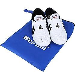 Zapatos de Taekwondo, Artes marciales Zapatilla de deporte de boxeo Karate Kung Fu Zapatos de Tai Chi Zapatillas de rayas negras Zapatos ligeros para hombres Mujeres Niños adultos Negro Blanco(39 Size Suitable 235mm Foot Length)