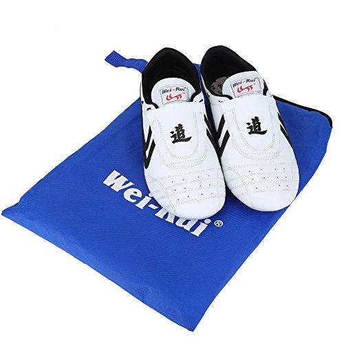 taekwondo, arti marziali sneaker Boxing karate Kung Fu Tai Chi scarpe nero Stripes sneakers leggero scarpe per unisex adulto bambini nero bianco, 43 Size Suitable 260mm Foot Length