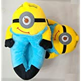 "Despicable Me 2 Plush Stuffed Men's Women's Unisex Slippers Smile Soft Toy Minion 11"" Adult Shoes Free size fit 34-42 (3D Eyes Not Available) (Kids Minion Stuart Slipper)"