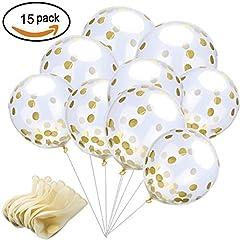 Idea Regalo - Palloncini in Lattice da 30 cm con Coriandoli Dorati , per Matriomoni , Compleanni o per Decorare Feste ( Confezione da 15 Pezzi )