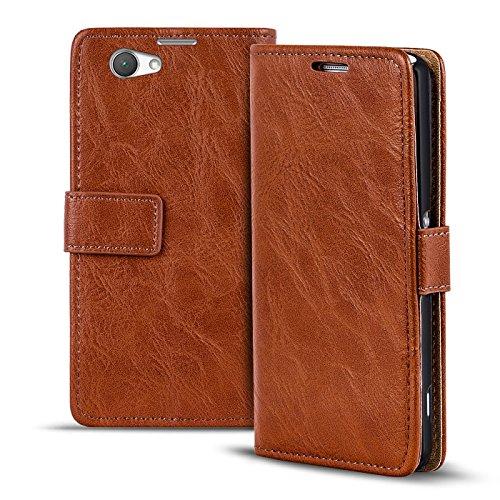 Verco Xperia Z1 Compact Hülle, Premium Handy Schutzhülle für Sony Xperia Z1 Compact Hülle PU Leder Wallet Tasche Retro Flipcase, Braun