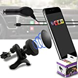 IWIO Car Mount Grip Magic Mobile Phone Cradle Air Vent Magnetic Phone Holder Universal Car Mount includes Micro USB LED Light 1amp 1000 mAh Car Charger for WileyFox Storm 4G