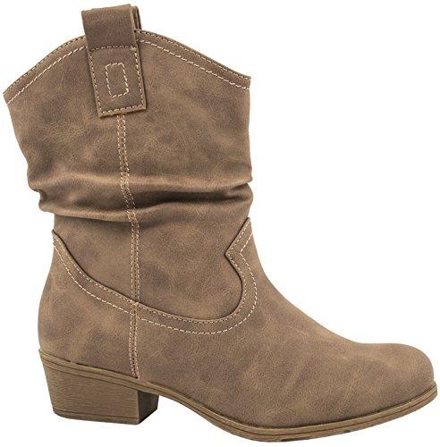Elara Damen Schlupf Stiefel | Reiter Stiefeletten | Biker Boots Kult Größe 39, Farbe Khaki Biker (Hohe Keil Stiefel)