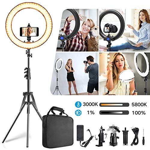 Ringlicht,verbesserte Version 19 Zoll LED äußere einstellbare Farbtemperatur 3000-5800K mit Standfuß,dimmbares Video-LED-Licht Kit für YouTube-Makeup,Telefonadapter,Videoaufnahmen,Porträt,Vlog,Selfie