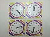 Set of 4 Practicing Time Clocks--Colorful Striped Design