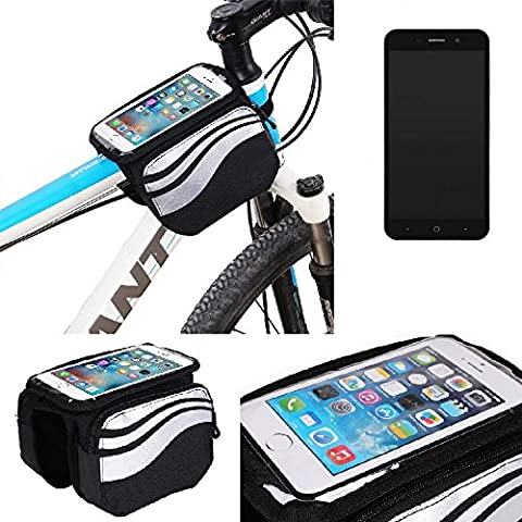 For ZTE Blade A602: Cycling Frame Bag, Head Tube Bag, Front Top Tube Frame Pannier Double Bag Pouch Holder Crossbar Bag, black-silver water resistant -