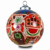 SIKORA INNENGLASMALEREI Weihnachtskugel Glaskugel Motiv LEBKUCHEN HAUS - D:7,5cm