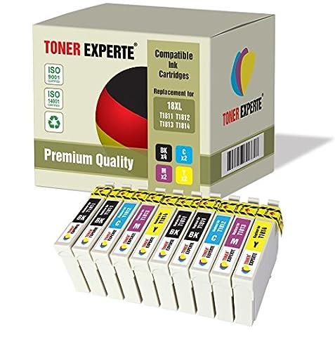 Pack 10 XL TONER EXPERTE® Compatibles Epson 18XL T1816 Cartouches d'encre pour Epson Expression Home XP-102, XP-202, XP-205, XP-212, XP-215, XP-225, XP-30, XP-33, XP-302, XP-305, XP-312, XP-315, XP-322, XP-325, XP-402, XP-405, XP-405WH, XP-412, XP-415, XP-422, XP-425