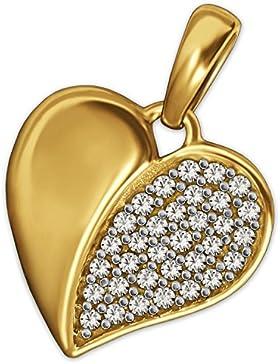 CLEVER SCHMUCK Goldener Anhänger kleines Herz 12 mm geschlossen, rechte Herzhälfte mit vielen weißen Zirkonias...