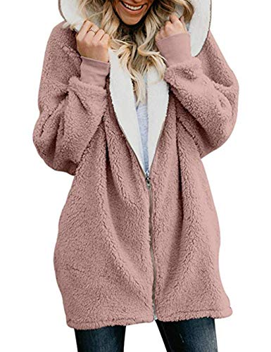 Serface Damen Teddy-Fleece Mantel | Kuscheliger Langer Fleecemantel Fleecejacke Reißverschluss mit Kapuze Jacke Cardigans Outwear (M-5XL)