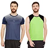 Masch Sports Mens Polyester Printed & Colourblocked T-Shirts - Pack of 2 (Navy Blue,Lime Green & Black)
