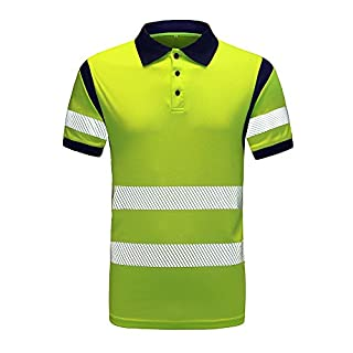AYKRM hi vis t Shirts Hi Vis High Viz Visibility Short Sleeve Safety Work hi vis t Shirt Yellow