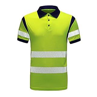 AYKRM hi vis t Shirts Hi Vis High Viz Visibility Short Sleeve Safety Work hi vis t Shirt (XL, Yellow)