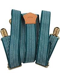 Lawevan hombres y mujeres pantalones apoyos Supenders Y-tipo con 3-clavijas de cobre del estilo británico azul y blanco de la raya cattlehide apoyos de cuero