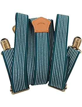 Lawevan® Hombres y mujeres Pantalones Tirantes suspendedors Y-tipo con 3 clips de cobre Británico Estilo Azul...