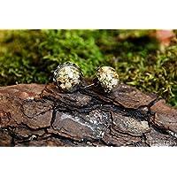 Pendientes de gypsophila - boho vintage botánico semiesfera de vidrio con flores secas naturales - 15mm - Regalos originales para mujer - Dama de honor - Boda- Aniversario - Regalo Día de la Madre