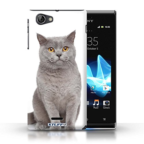 Kobalt® Imprimé Etui / Coque pour Sony Xperia J (ST26i) / Sibérien conception / Série Espèces de chats Bleu britannique