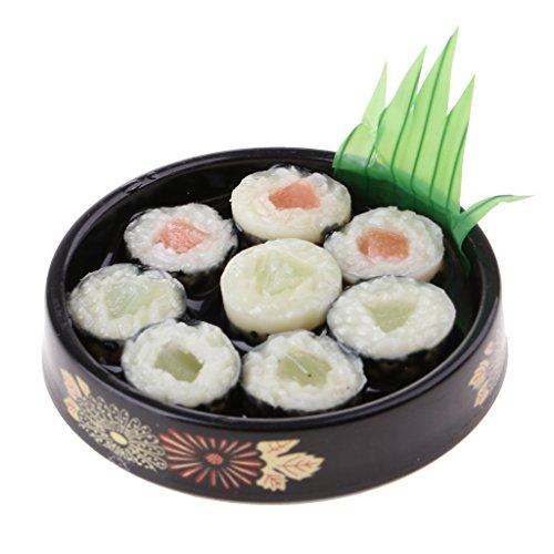 Baoblaze 1/6 Puppenhaus Küche Lebensmittel - Miniatur Japanische Essen Sushi auf Runde Platte Modell aus Kunststoff - # C Mini Sushi