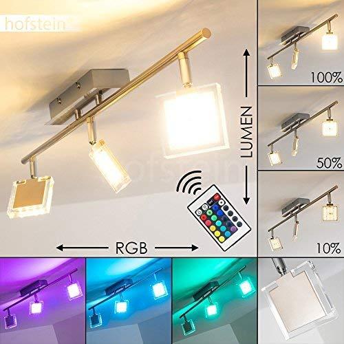 LED Deckenleuchte Parnu, dimmbare Deckenlampe aus Metall in Nickel-matt, 3-flammig mit verstellbaren Leuchtenköpfen, 3 x 4 Watt, 960 Lumen insgesamt, 3000 Kelvin, mit Farbwechsler u. Fernbedienung