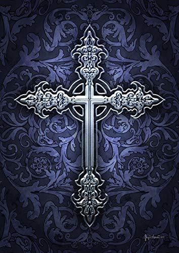 Metallic Scroll (Toland Home Garden 1012358 Silberkreuz 28x101,6 cm Deko Hausflagge)