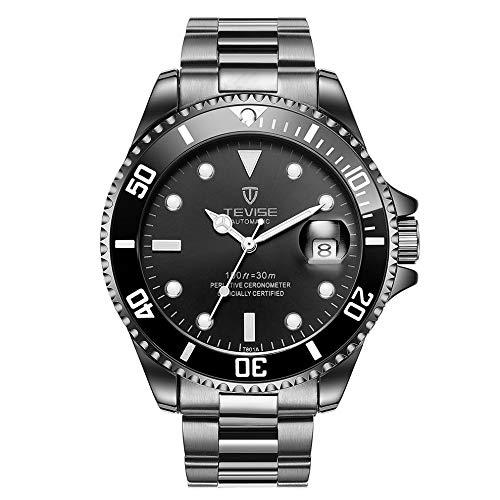 Tevise T801 Orologio da polso da uomo, automatico, meccanico, alla moda, luminoso, lussuoso, 30 m, cinturino in acciaio, orologio sportivo da uomo, cinturino nero