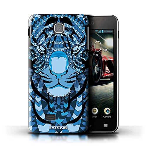 Kobalt® Imprimé Etui / Coque pour LG Optimus F5/P875 / Loup-Vert conception / Série Motif Animaux Aztec Tigre-Bleu