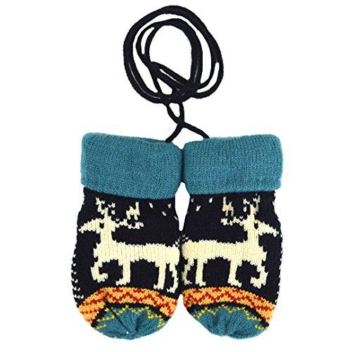 Ashdown niños guantes de invierno lindo de punto manoplas de Navidad regalos para bebé Black&Blue