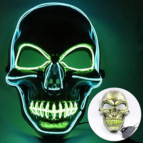 Innerternet Halloween Maske LED Light EL Wire Cosplay Maske Sound Reaktiv LED Maskentanz Rave Leuchten Einstellbare Maske für Festival Cosplay Halloween - Zombie Gamer Kostüm