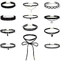 Bepo 12pezzi collana girocollo elasticizzato velluto Adesivo classico gotico Lace Choker Collane, colore: (Lace Choker)