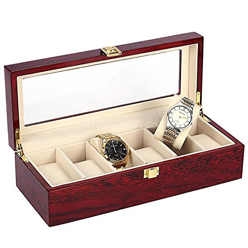 ELECTROPRIME 6 Slots Wood Watch Display Case Watches Box Holder Jewelry Storage Organizer