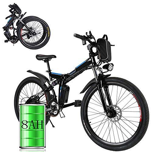 Bunao Bicicleta eléctrica de montaña, Batería 36V 8AH E-Bike 7 Sistema de Transmisión de Velocidades con Linterna con Batería de...
