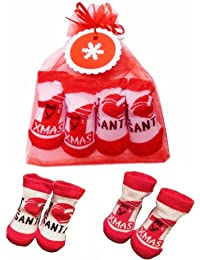 Cute 2 Pairs Of Christmas Socks MY 1ST XMAS & I LOVE SANTA Design in Gift Bag & Snowflake Gift Tag