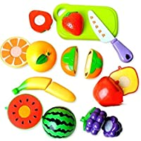 HMC Kids Realistic Plastic Sliceable Play Kitchen Toy with Fruits, Vegetables, Knife, Plate and Cutting-Board…