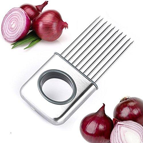 jjmg New Zwiebeln Tomaten Schneiden Gabel Werkzeug Edelstahl Küche Zwiebel Plug Gurke Gemüsehobel Kamm-leicht Praktische hält die Hände vor Verletzungen Fern- und Lebensmittel Geruch