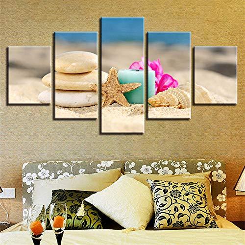 Moderne dekorative malerei Hause Sofa Wand Wohnzimmer HD Kunst Painting,Shell Beach Seascape 8 Bemalungskern 10x15cmx2 10x20cmx2 10x25cmx1