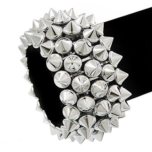 Unbekannt Rock Chick Metallic poliert & Matt Kunststoff Spike Flex Armband-18cm Länge -