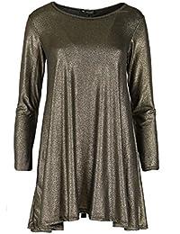 Femmes Manches Longues Or Métallique Argent Brillant Métal Look Femmes  Soirée Vêtement Swing Mini Robe Évasée 0c01d207e292