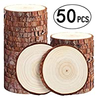 Mainstayae 50 قطعة خشبية أصلية من خشب الأرز غير المقشر لوحة دائرية يدوية DIY أدوات تزيين المنزل
