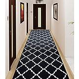 Payidar - Tapis de Couloir Long Noir et Blanc, Polypropylène, Noir, 80 x 300 cm