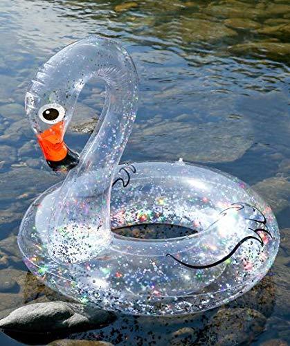 Qnlly Konfetti Holographische Glitter Aufblasbarer Schwan Schwimmkreis Wasser Schwimmende Insel Sommer Spaß Pool Spielzeug Erwachsene Kinder Schwimmring