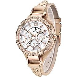Alienwork Quartz Watch Multi-function Wristwatch nacre Rhinestone Leather white beige K002GA-07