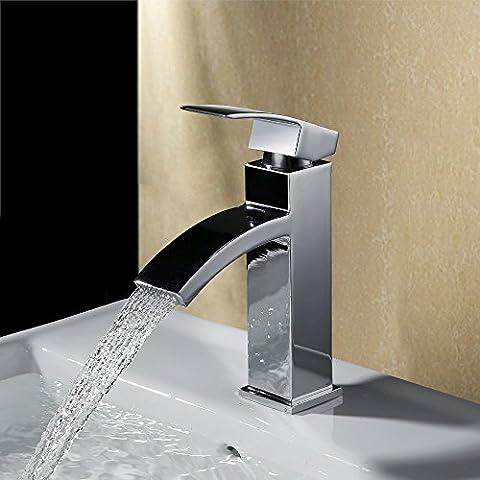 Homelody Chrom Armatur Wasserfall Wasserhahn Bad Einhebel Mischbatterie Badarmatur Waschtischarmatur Waschbeckenarmatur Einhebelmischer Waschtischbatterie für (4-loch Montage Hebelgriff)